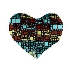 Block On Block, Aqua Standard 16  Premium Heart Shape Cushions by MoreColorsinLife