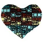 Block On Block, Aqua Large 19  Premium Heart Shape Cushions