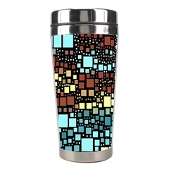 Block On Block, Aqua Stainless Steel Travel Tumblers by MoreColorsinLife