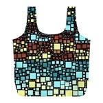 Block On Block, Aqua Full Print Recycle Bags (L)