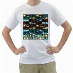 Block On Block, Aqua Men s T-Shirt (White)