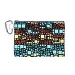 Block On Block, Aqua Canvas Cosmetic Bag (M)