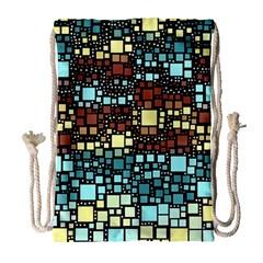 Block On Block, Aqua Drawstring Bag (large) by MoreColorsinLife