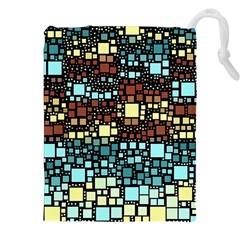 Block On Block, Aqua Drawstring Pouches (xxl) by MoreColorsinLife