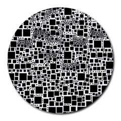 Block On Block, B&w Round Mousepads by MoreColorsinLife
