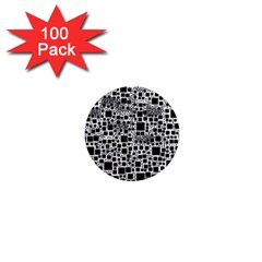 Block On Block, B&w 1  Mini Magnets (100 Pack)  by MoreColorsinLife