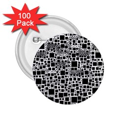 Block On Block, B&w 2 25  Buttons (100 Pack)  by MoreColorsinLife