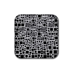 Block On Block, B&w Rubber Coaster (square)  by MoreColorsinLife