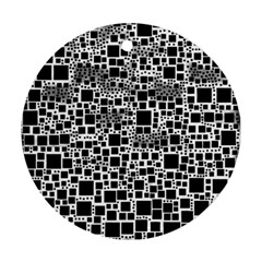 Block On Block, B&w Round Ornament (two Sides)  by MoreColorsinLife