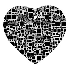 Block On Block, B&w Heart Ornament (2 Sides) by MoreColorsinLife