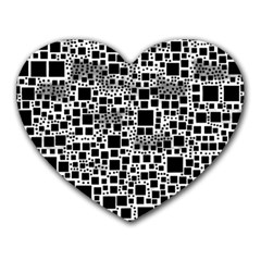 Block On Block, B&w Heart Mousepads by MoreColorsinLife