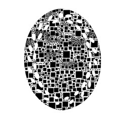 Block On Block, B&w Oval Filigree Ornament (2 Side)  by MoreColorsinLife