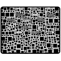 Block On Block, B&w Double Sided Fleece Blanket (medium)  by MoreColorsinLife