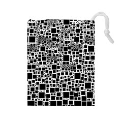 Block On Block, B&w Drawstring Pouches (large)  by MoreColorsinLife