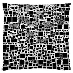 Block On Block, B&w Large Flano Cushion Case (two Sides) by MoreColorsinLife