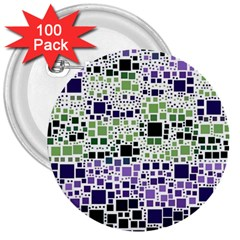 Block On Block, Purple 3  Buttons (100 Pack)  by MoreColorsinLife