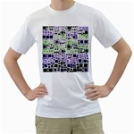 Block On Block, Purple Men s T-Shirt (White) (Two Sided)