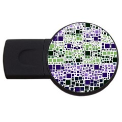 Block On Block, Purple Usb Flash Drive Round (2 Gb)  by MoreColorsinLife