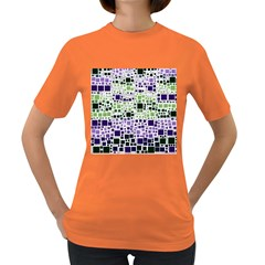 Block On Block, Purple Women s Dark T Shirt by MoreColorsinLife