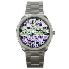 Block On Block, Purple Sport Metal Watch by MoreColorsinLife