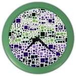 Block On Block, Purple Color Wall Clocks