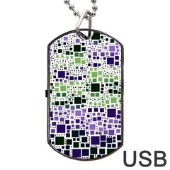 Block On Block, Purple Dog Tag Usb Flash (two Sides)  by MoreColorsinLife