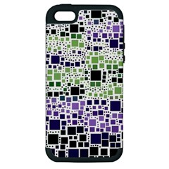 Block On Block, Purple Apple Iphone 5 Hardshell Case (pc+silicone) by MoreColorsinLife