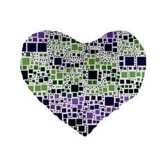 Block On Block, Purple Standard 16  Premium Heart Shape Cushions by MoreColorsinLife