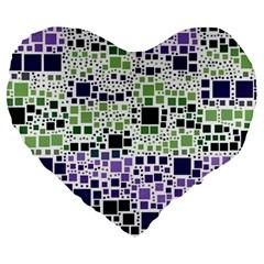 Block On Block, Purple Large 19  Premium Heart Shape Cushions by MoreColorsinLife