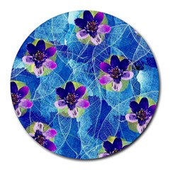 Purple Flowers Round Mousepads by DanaeStudio
