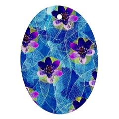 Purple Flowers Ornament (oval)  by DanaeStudio