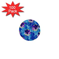 Purple Flowers 1  Mini Buttons (100 Pack)  by DanaeStudio