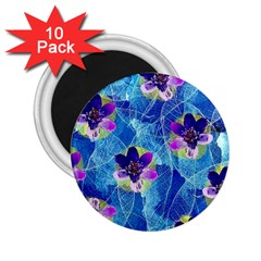 Purple Flowers 2 25  Magnets (10 Pack)  by DanaeStudio
