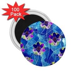 Purple Flowers 2 25  Magnets (100 Pack)  by DanaeStudio