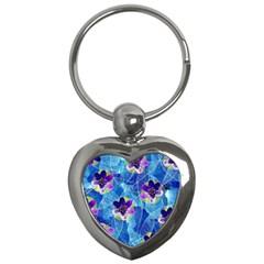 Purple Flowers Key Chains (heart)  by DanaeStudio