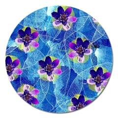 Purple Flowers Magnet 5  (round) by DanaeStudio