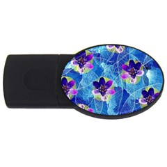 Purple Flowers Usb Flash Drive Oval (2 Gb)  by DanaeStudio