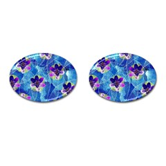 Purple Flowers Cufflinks (oval) by DanaeStudio