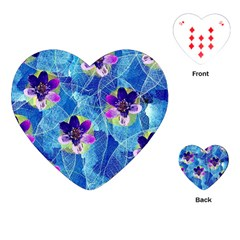 Purple Flowers Playing Cards (heart)  by DanaeStudio