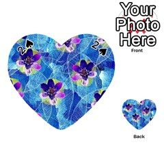 Purple Flowers Playing Cards 54 (heart)  by DanaeStudio