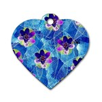 Purple Flowers Dog Tag Heart (One Side)