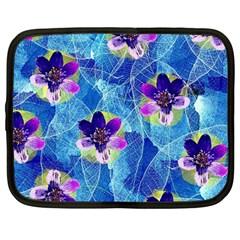 Purple Flowers Netbook Case (large) by DanaeStudio