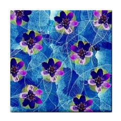 Purple Flowers Face Towel by DanaeStudio