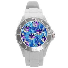 Purple Flowers Round Plastic Sport Watch (l) by DanaeStudio