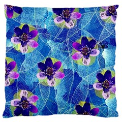 Purple Flowers Large Cushion Case (two Sides) by DanaeStudio