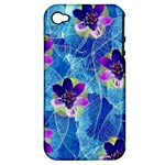 Purple Flowers Apple iPhone 4/4S Hardshell Case (PC+Silicone)