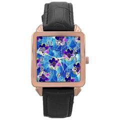 Purple Flowers Rose Gold Leather Watch  by DanaeStudio