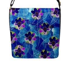 Purple Flowers Flap Messenger Bag (l)  by DanaeStudio