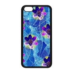 Purple Flowers Apple Iphone 5c Seamless Case (black) by DanaeStudio