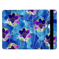 Purple Flowers Samsung Galaxy Tab Pro 12 2  Flip Case by DanaeStudio